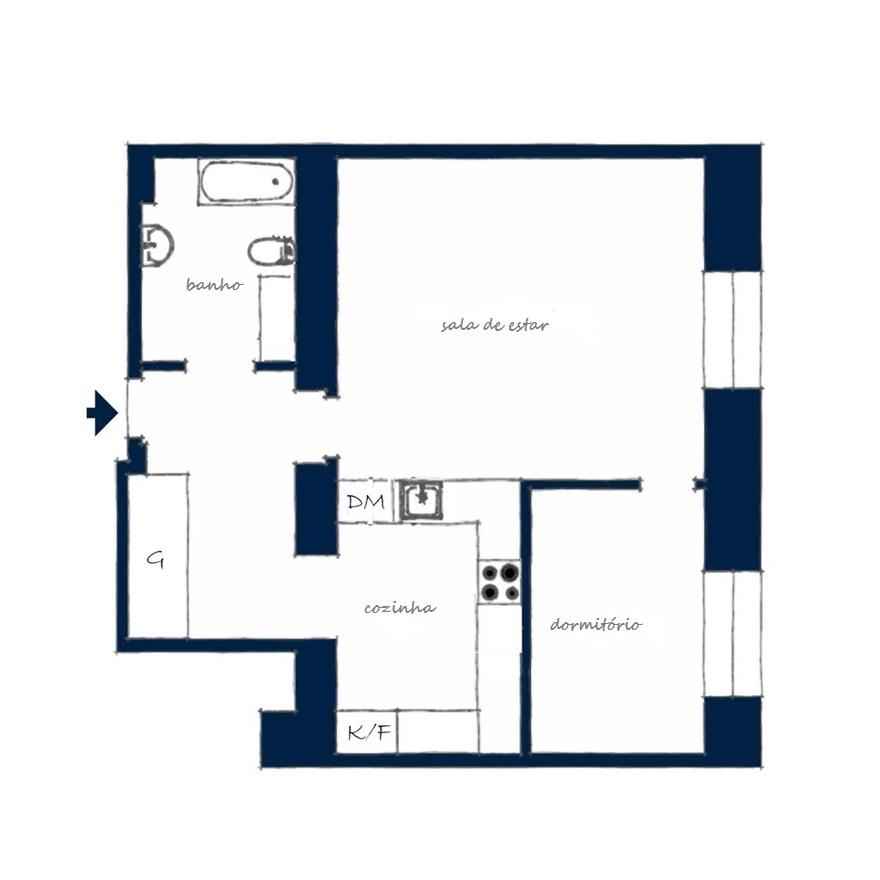 Apartamento quarto e sala em Estocolmo, no blog Detalhes Magicos
