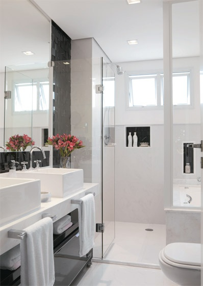 Ideias- Pequenos E Charmosos Banheiros! ~ Decoracao De Banheiro Todo Preto