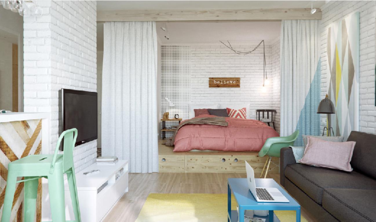decoracao mini kitnet:Para armazenamento, que é a grande dificuldade em pequenos espaços