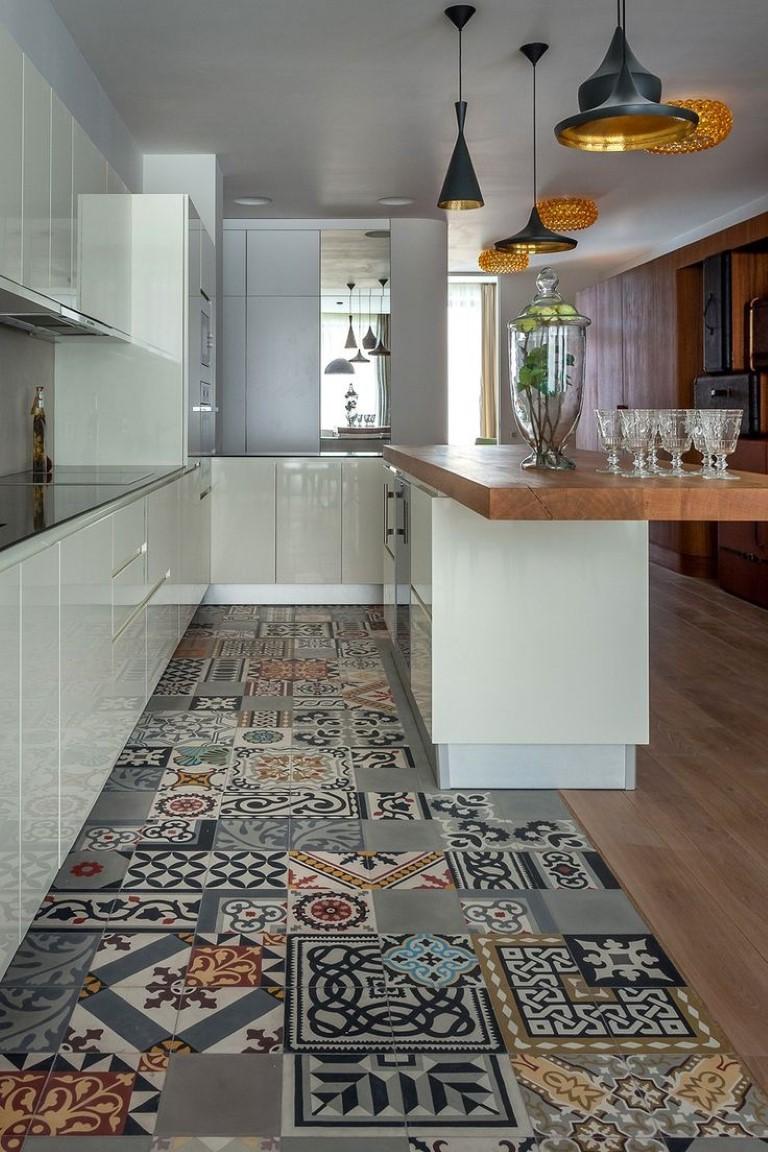 Ladrilho hidraulico na cozinha, no blog Detalhes Magicos