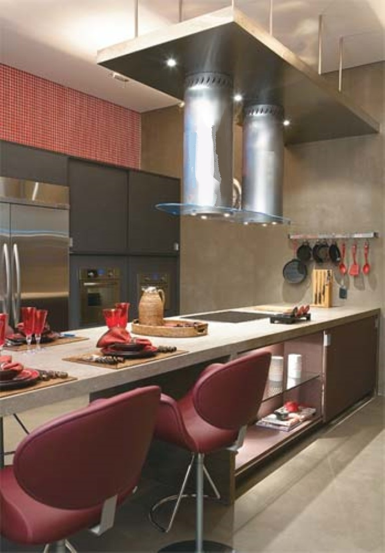 Cozinha Luxuosa Moderna Trazendo Uma Parede Revestida Com Papel De