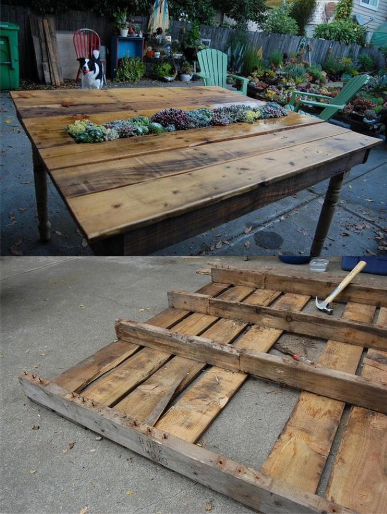 Vamos fazer a mesa com pallets detalhes m gicos for Mesas de plastico para jardin