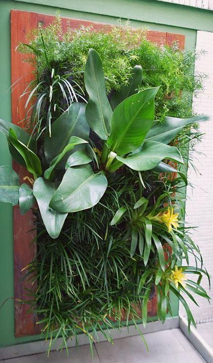 Plantas e flores na parede formando um jardim vertical ...